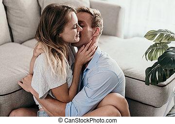 par, abraço, amor, outro, cada