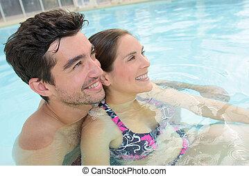 par, acariciou, piscina, junto, natação