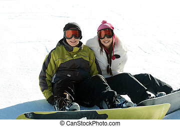 par, adolescente, snowboarders