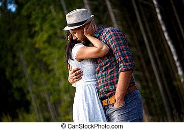 par, amando, floresta, romanticos
