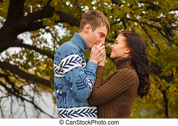 par, amando, parque, ao ar livre