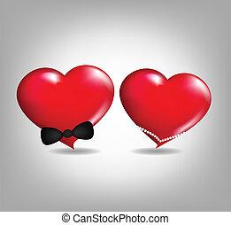 par, ame corações