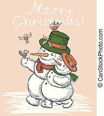 par amoroso, cartão, bonecos neve, natal