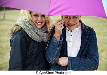 par, amoroso, guarda-chuva