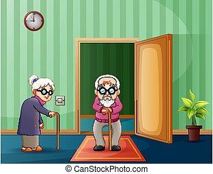 par ancião, dentro, sala