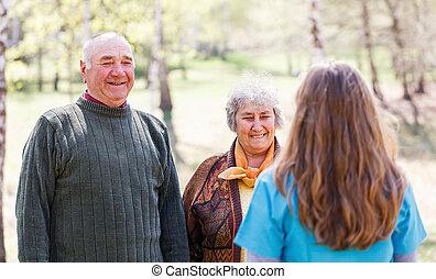 par ancião, e, jovem, caregiver