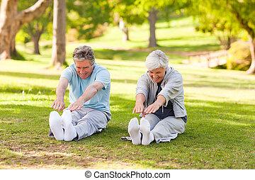 par ancião, fazendo, seu, estica, parque