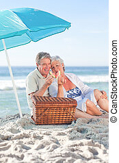 par ancião, picniking, praia