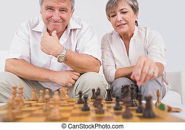 par, antigas, xadrez jogando