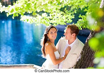 par, apaixonadas, abraço, em, floresta, árvore, lago azul
