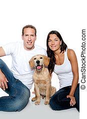 par, apaixonadas, filhote cachorro, cão, retriever dourado
