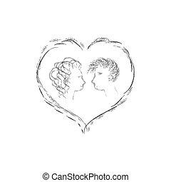 par, apaixonadas, junto, valentine, esboço, para, seu, desenho