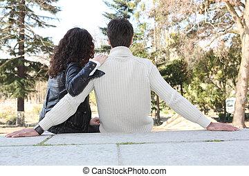 par, apaixonadas, sentando
