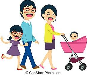 par asiático, carrinho criança empurrando
