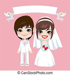 par, asiático, casório
