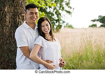 par, asiático, feliz