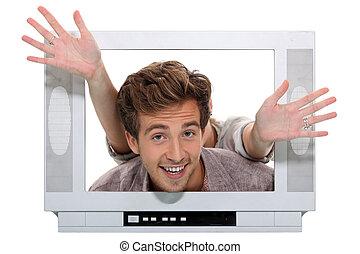 par, atrás de, televisão