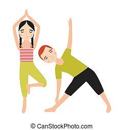 par, av, barn, klätt, in, sportkläder, gör, yoga, övning, isolerat, vita, bakgrund., sporter aktivitet, utbildning, eller, fitness, genomkörare, för, kids., färgrik, vektor, illustration, in, lägenhet, tecknad film, style.