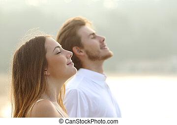 par, av, herre och kvinna, andning, djup, nytt lufta