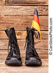 par, av, svart, strid, stövel, med, flagga, av, germany.