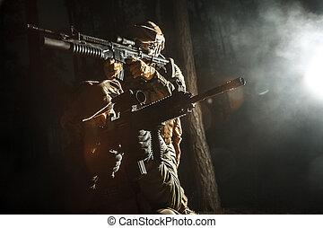 par, av, tjäna som soldat, in, den, skog