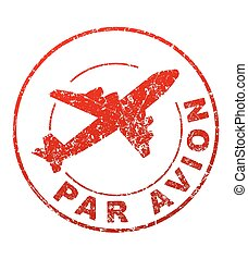 Par avion grunge style vector rubber stamp with silhouette of flying airplane