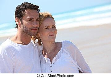 par, avkopplande, stranden