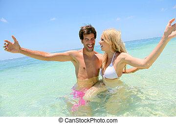 par, avnjut, semester, stranden