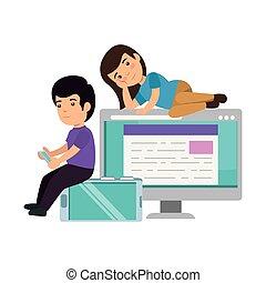 par, børn, computer, desktop