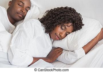par, b, dormir, junto, feliz
