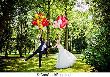 par, balões, caucasiano, casório