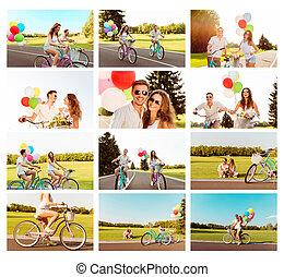 par, balões, colagem, montando, amor, bicicleta, feliz