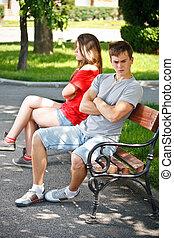 par, banco, parque, jovem, sentando