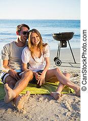par, barbecue, ha, tillsammans, lycklig