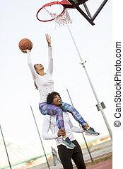 par, basquetebol, tocando