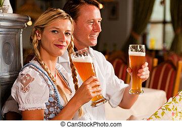 par, bayersk, drickande, vete, öl