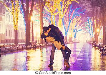 par beija, à noite, alley.