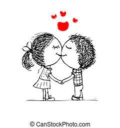par beija, valentine, esboço, para, seu, desenho