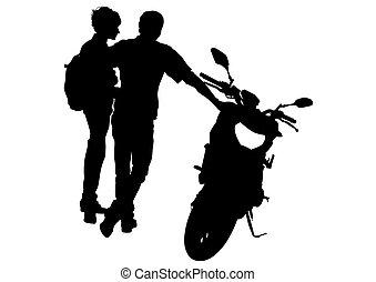 par, bicicleta, motor