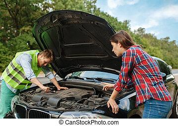 par, bil, öppnat, sammanbrott, väg, huv