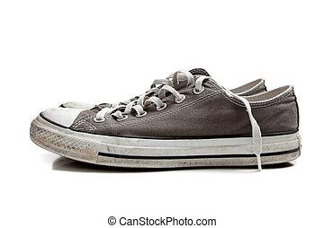 par, blanco, zapatillas, gris