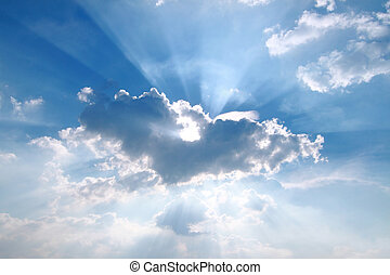 par, bleu ciel, rayon soleil, brume