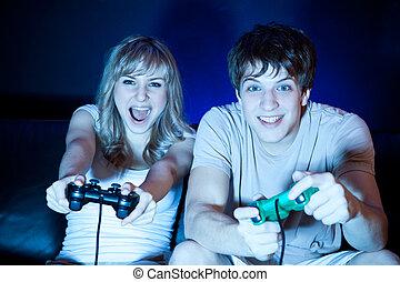 par, boldspil spille video