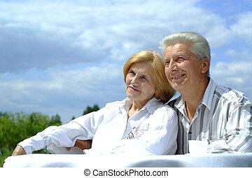 par, bom, caucasiano, idoso