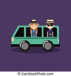 par bueno, viajeros, vacaciones, en coche, furgoneta