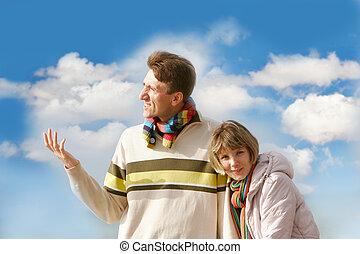 par, céu, sobre, fundo, jovem