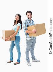 par, caixas, feliz, em movimento, jovem