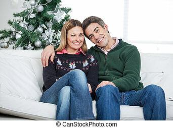 par cariñoso, se sentar sobre sofá, durante, navidad