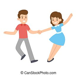 par, caricatura, dançar