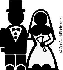 par, casório, ícone